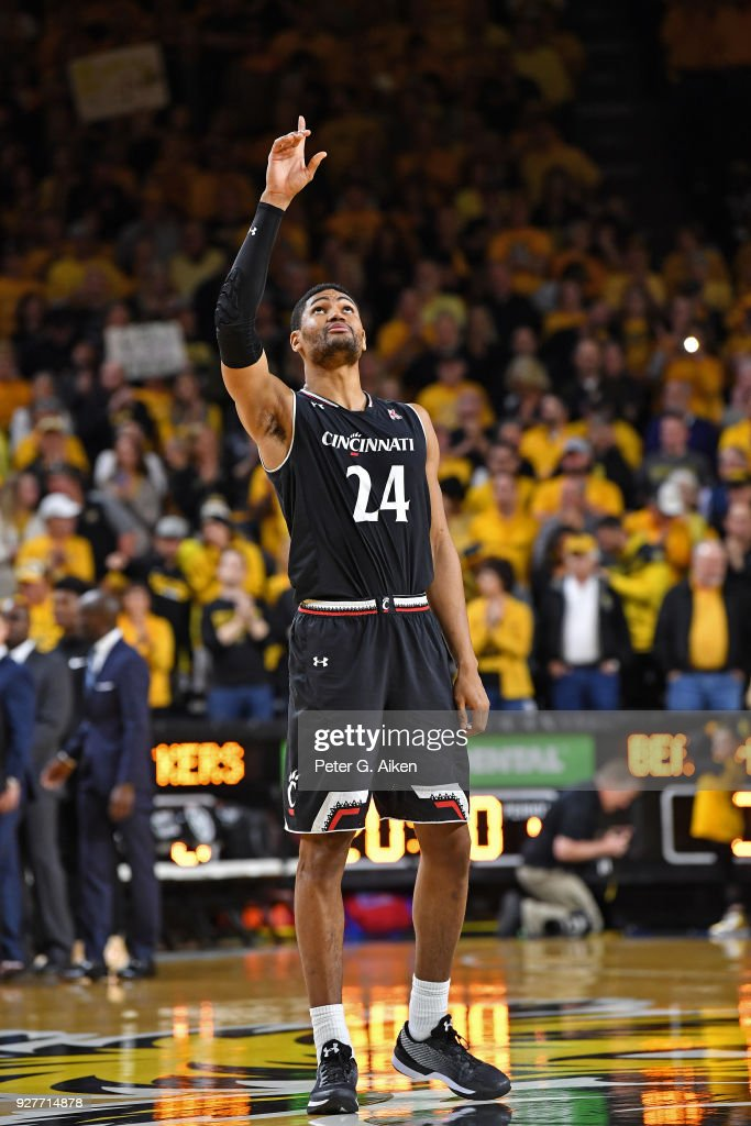Kyle Washington #24 of the Cincinnati Bearcats reacts before the start of the game against the Wichita State Shockers on March 4, 2018 at Charles Koch Arena in Wichita, Kansas.