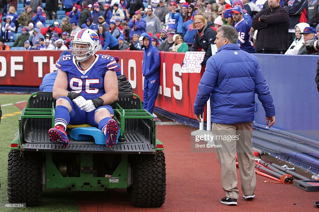 Kyle Williams #95 of the Buffalo Bills is carted off the field after being injured against the Cincinnati Bengals during the second half at Ralph Wilson Stadium on October 18, 2015 in Orchard Park, New York.