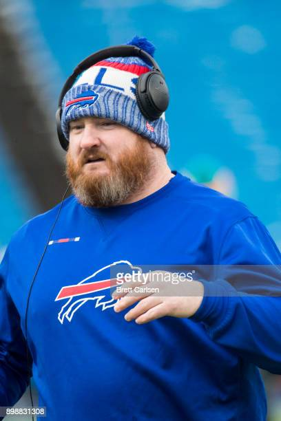 Kyle Williams of the Buffalo Bills participates in warm ups before the game against the Miami Dolphins at New Era Field on December 17 2017 in...