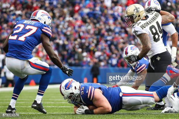 Kyle Williams of the Buffalo Bills recovers a fumble during the second quarter against the New Orleans Saints on November 12 2017 at New Era Field in...