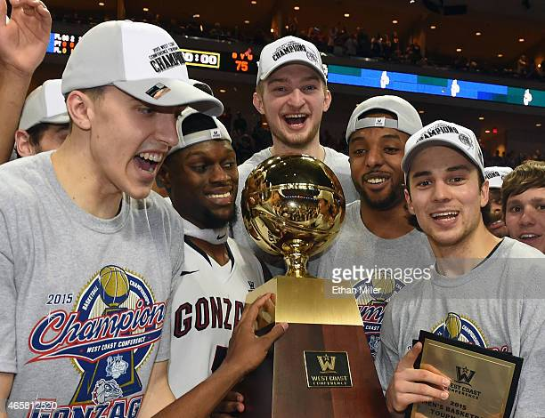 Kyle Wiltjer, Gary Bell Jr. #5, Domantas Sabonis, Byron Wesley and Kevin Pangos of the Gonzaga Bulldogs celebrate with the trophy after defeating the...