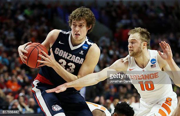 Kyle Wiltjer of the Gonzaga Bulldogs drives against Trevor Cooney of the Syracuse Orange in the first half during the 2016 NCAA Men's Basketball...