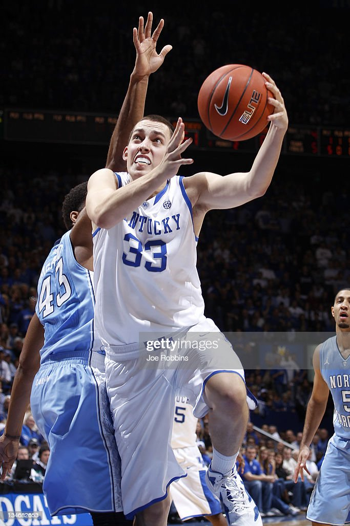 Kyle Wiltjer #33 of the Kentucky Wildcats goes up for a shot against the North Carolina Tar Heels at Rupp Arena on December 3, 2011 in Lexington, Kentucky. Kentucky won 73-72.
