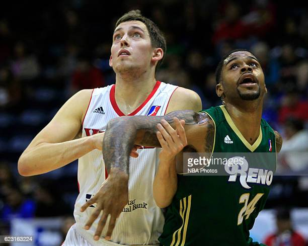 Kyle Wiltjer of the Rio Grande Valley Vipers and Chane Behanan of the Reno Bighorns look for a reboud during the second quarter of their game at the...