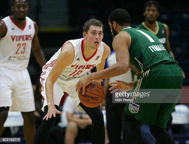 Kyle Wiltjer of the Rio Grande Valley Vipers defends Mark Tyndale of the Reno Bighorns during the first quarter of their game at the State Farm Arena...