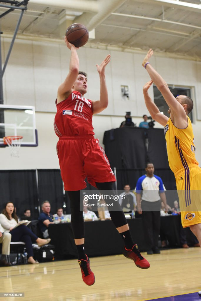 Kyle Wiltjer #18 of the Rio Grande Valley Vipers shoots the ball against the Los Angeles D-Fenders during the first round of an NBA D-League playoff game at Toyota Sports Center on April 08, 2017 in El Segundo, California.