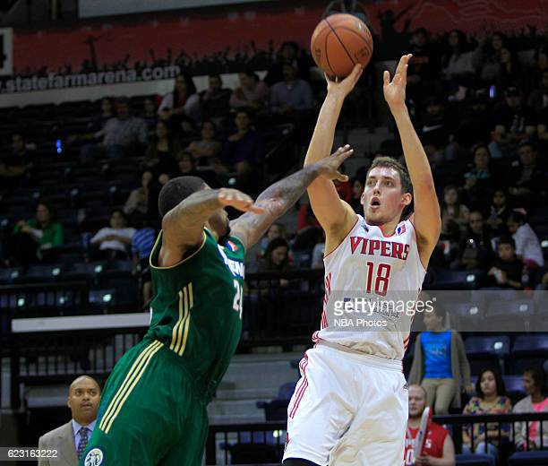 Kyle Wiltjer of the Rio Grande Valley Vipers shoots the ball over Chane Behanan of the Reno Bighorns during the second quarter of their game at the...