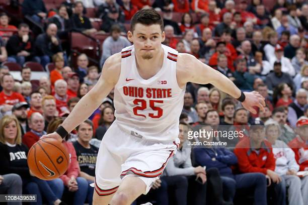 Kyle Young of the Ohio State Buckeyes drives to the basket in the game against the Maryland Terrapins at Value City Arena on February 23 2020 in...