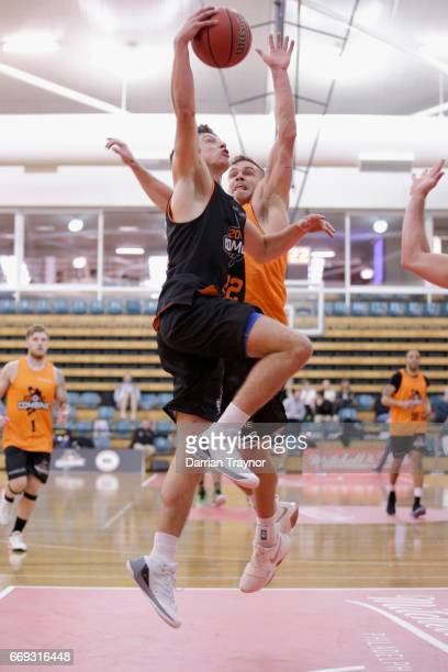 Kyle Zunic drives to the basket during the NBL Combine 2017/18 at Melbourne Sports and Aquatic Centre on April 17 2017 in Melbourne Australia