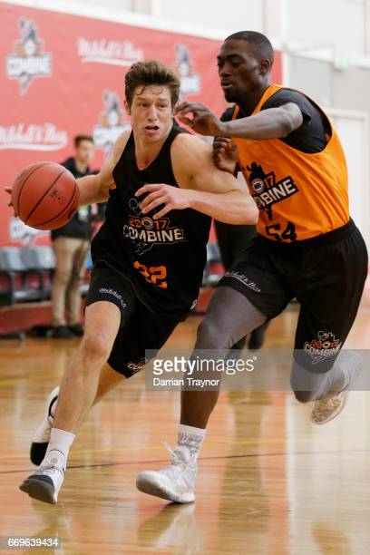 Kyle Zunic drives to the basket during the NBL Combine 2017/18 at Melbourne Sports and Aquatic Centre on April 18 2017 in Melbourne Australia