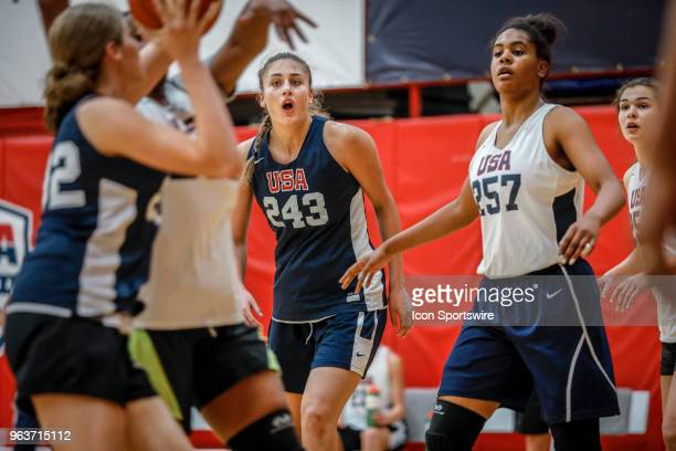 Kylee Watson of Linwood NJ participates in tryouts for the 2018 USA Basketball Women's U17 World Cup Team at the United States Olympic Training...