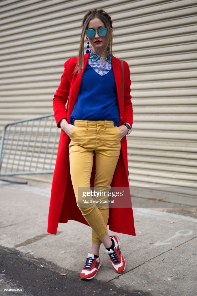 Kyleigh McCollam is seen attending Taoray Wang/Creatures of the Wind during New York Fashion Week wearing JCrew, New Balance shoes, Maje coat, and Poppy Lissiman bag on February 11, 2017 in New York City.