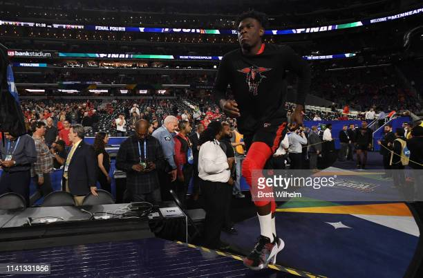 Kyler Edwards of the Texas Tech Red Raiders enters the stadium before the 2019 NCAA men's Final Four National Championship game at US Bank Stadium on...
