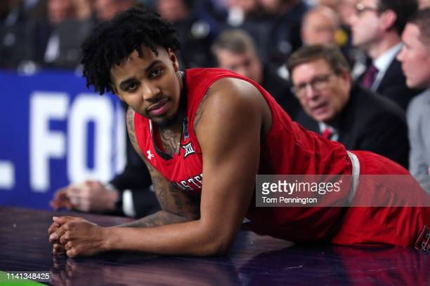 Kyler Edwards of the Texas Tech Red Raiders looks on against the Virginia Cavaliers during the 2019 NCAA men's Final Four National Championship game...