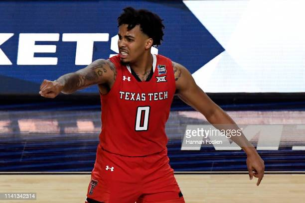 Kyler Edwards of the Texas Tech Red Raiders reacts against the Virginia Cavaliers in the second half during the 2019 NCAA men's Final Four National...