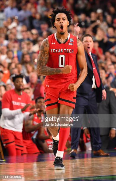Kyler Edwards of the Texas Tech Red Raiders reacts to a play during the second half of the game against the Virginia Cavaliers in the 2019 NCAA...