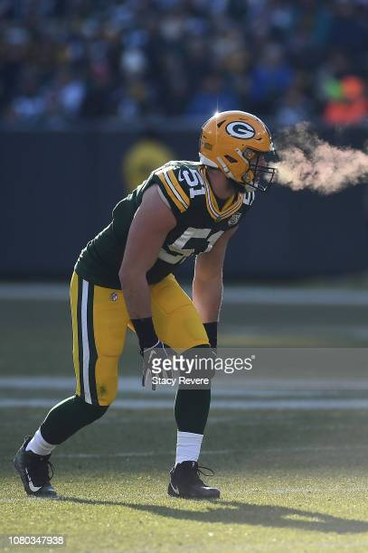 Kyler Fackrell of the Green Bay Packers anticipates a play during a game against the Atlanta Falcons at Lambeau Field on December 09 2018 in Green...