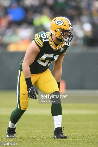 Kyler Fackrell of the Green Bay Packers prepares to rush the passer during a game against the Arizona Cardinals at Lambeau Field on December 02 2018...
