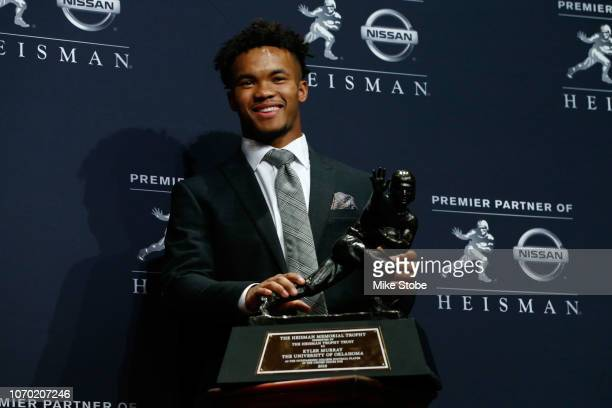 Kyler Murray of Oklahoma poses for a photo after winning the 2018 Heisman Trophy on December 8 2018 in New York City
