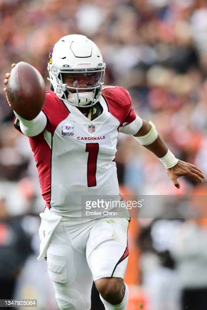Kyler Murray of the Arizona Cardinals carries the ball during a game against the Cleveland Browns at FirstEnergy Stadium on October 17, 2021 in...