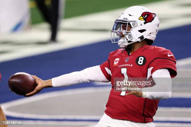 Kyler Murray of the Arizona Cardinals celebrates a touchdown against the Dallas Cowboys during the third quarter at ATT Stadium on October 19 in...