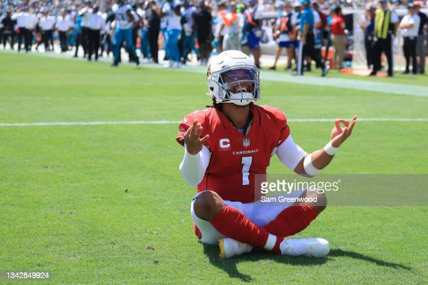 Kyler Murray of the Arizona Cardinals celebrates a touchdown in first quarter in the game against the Jacksonville Jaguars at TIAA Bank Field on...