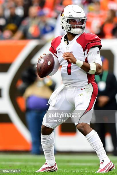 Kyler Murray of the Arizona Cardinals drops back to pass during a game against the Cleveland Browns at FirstEnergy Stadium on October 17, 2021 in...
