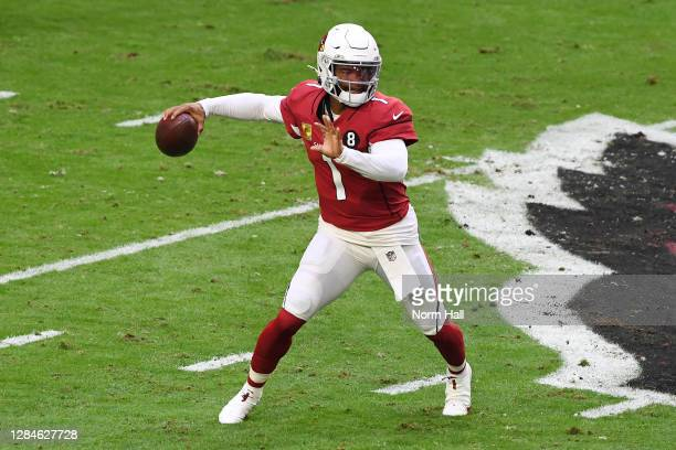 Kyler Murray of the Arizona Cardinals looks to pass during the first half against the Miami Dolphins at State Farm Stadium on November 08, 2020 in...
