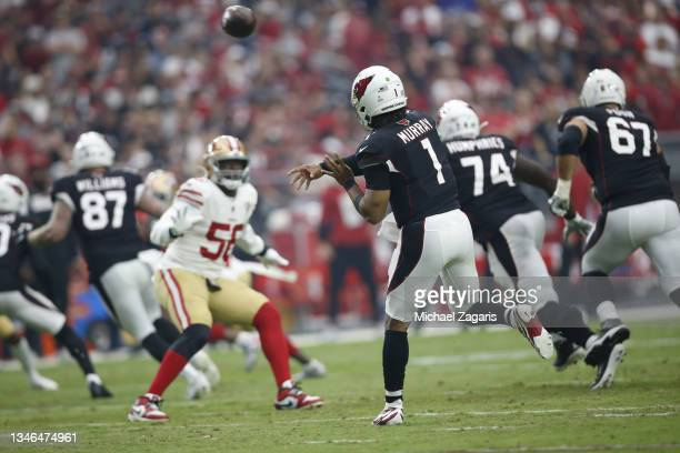 Kyler Murray of the Arizona Cardinals passes during the game against the San Francisco 49ers at State Farm Stadium on October 10, 2021 in Glendale,...