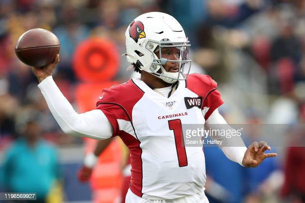 Kyler Murray of the Arizona Cardinals passes the ball during the second half of a game against the Los Angeles Rams at Los Angeles Memorial Coliseum...