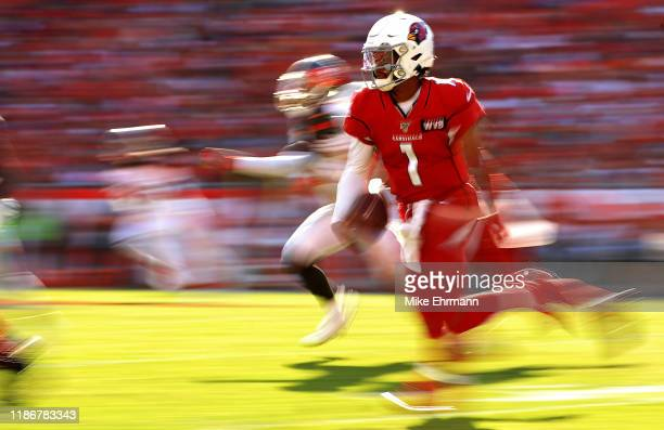 Kyler Murray of the Arizona Cardinals rushes during a game against the Tampa Bay Buccaneers at Raymond James Stadium on November 10, 2019 in Tampa,...