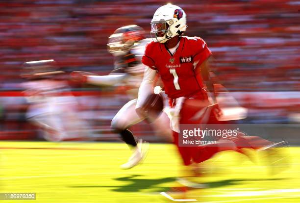 Kyler Murray of the Arizona Cardinals rushes during a game against the Tampa Bay Buccaneers at Raymond James Stadium on November 10 2019 in Tampa...