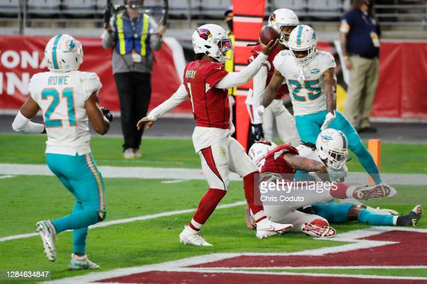 Kyler Murray of the Arizona Cardinals scores a touchdown during the second half against the Miami Dolphins at State Farm Stadium on November 08, 2020...