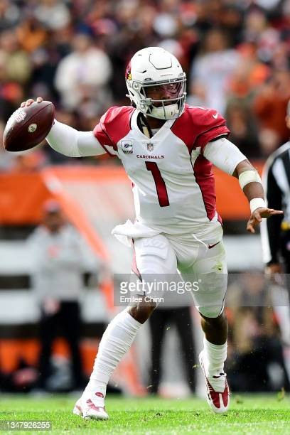 Kyler Murray of the Arizona Cardinals throws a pass during a game against the Cleveland Browns at FirstEnergy Stadium on October 17, 2021 in...