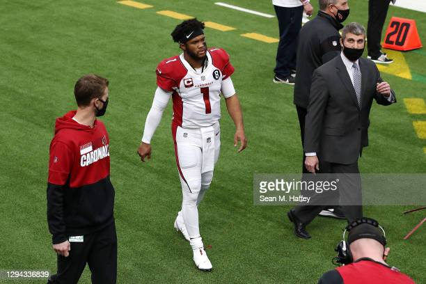 Kyler Murray of the Arizona Cardinals walks on the sideline after suffering an apparent injury during the first quarter against the Los Angeles Rams...