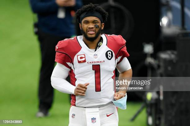 Kyler Murray of the Arizona Cardinals walks on the sideline during the second half against the Los Angeles Rams at SoFi Stadium on January 03, 2021...