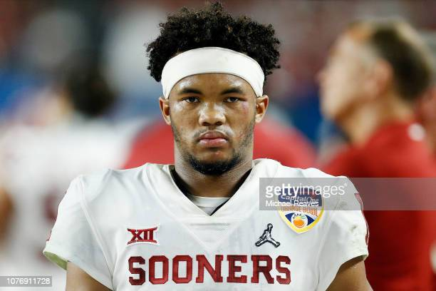 Kyler Murray of the Oklahoma Sooners looks on against the Alabama Crimson Tide during the College Football Playoff Semifinal at the Capital One...