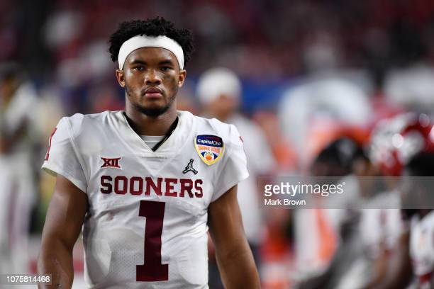 Kyler Murray of the Oklahoma Sooners looks on in the third quarter during the College Football Playoff Semifinal against the Alabama Crimson Tide at...