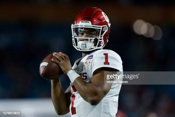 Kyler Murray of the Oklahoma Sooners looks on prior to the game against the Alabama Crimson Tide during the College Football Playoff Semifinal at the...