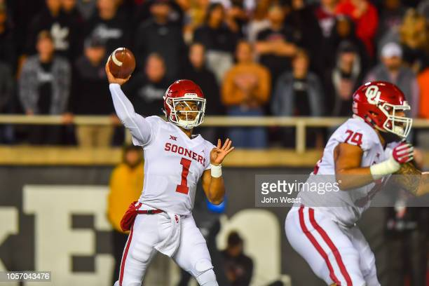 Kyler Murray of the Oklahoma Sooners looks to pass during the first half of the game against the Texas Tech Red Raiders on November 3 2018 at Jones...