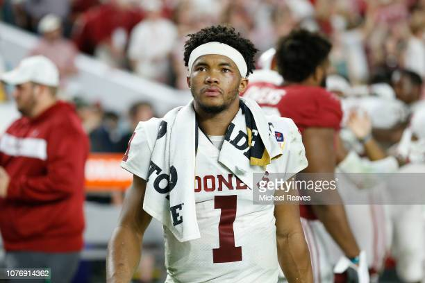 Kyler Murray of the Oklahoma Sooners reacts after losing to the Alabama Crimson Tide in the College Football Playoff Semifinal at the Capital One...