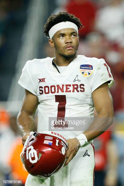 Kyler Murray of the Oklahoma Sooners reacts in the fourth quarter during the College Football Playoff Semifinal against the Alabama Crimson Tide at...