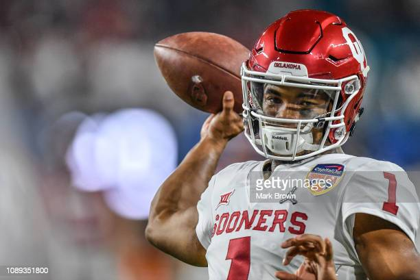Kyler Murray of the Oklahoma Sooners warms up before the game against the Alabama Crimson Tide at Hard Rock Stadium on December 29 2018 in Miami...
