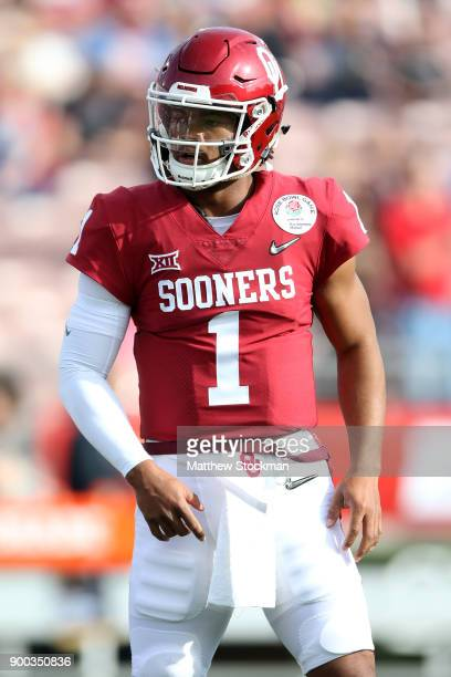 Kyler Murray of the Oklahoma Soonersrs is seen in the 2018 College Football Playoff Semifinal at the Rose Bowl Game presented by Northwestern Mutual...