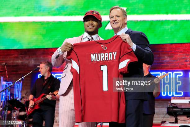 Kyler Murray Oklahoma poses with NFL Commissioner Roger Goodell after he was picked overall by the Arizona Cardinals during the first round of the...