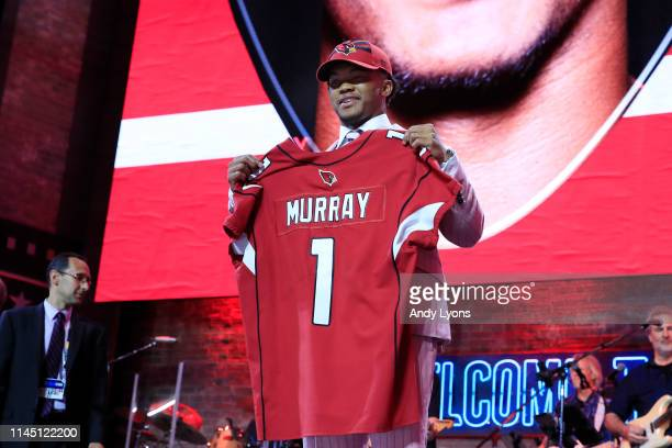 Kyler Murray Oklahoma reacts after he was picked overall by the Arizona Cardinals during the first round of the 2019 NFL Draft on April 25, 2019 in...