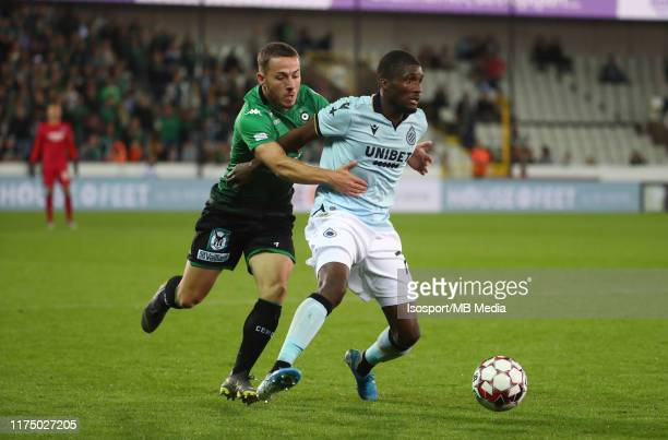 Kylian Hazard of Cercle battles for the ball with Clinton Mata of Club Brugge during the Jupiler Pro League match between Cercle Brugge and Club...