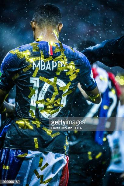 Kylian Mbappé of France is seen after the 2018 FIFA World Cup Russia Final between France and Croatia at Luzhniki Stadium on July 15 2018 in Moscow...