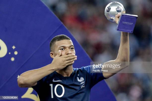 Kylian Mbappé of France wins second best world cup award the 2018 World Cup title after a 4-2 win against Croatia at Luzhniki Stadium in Moscow,...