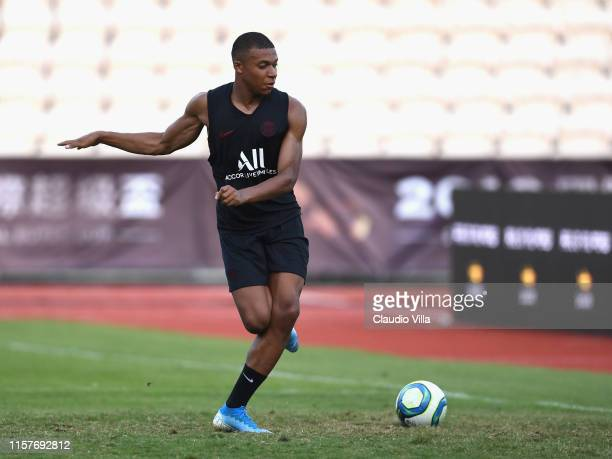 Kylian Mbappé of PSG in action during a training session on July 26 2019 in Macau